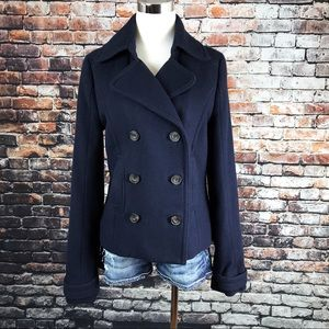 Abercrombie & Fitch Navy Blue Wool Peacoat